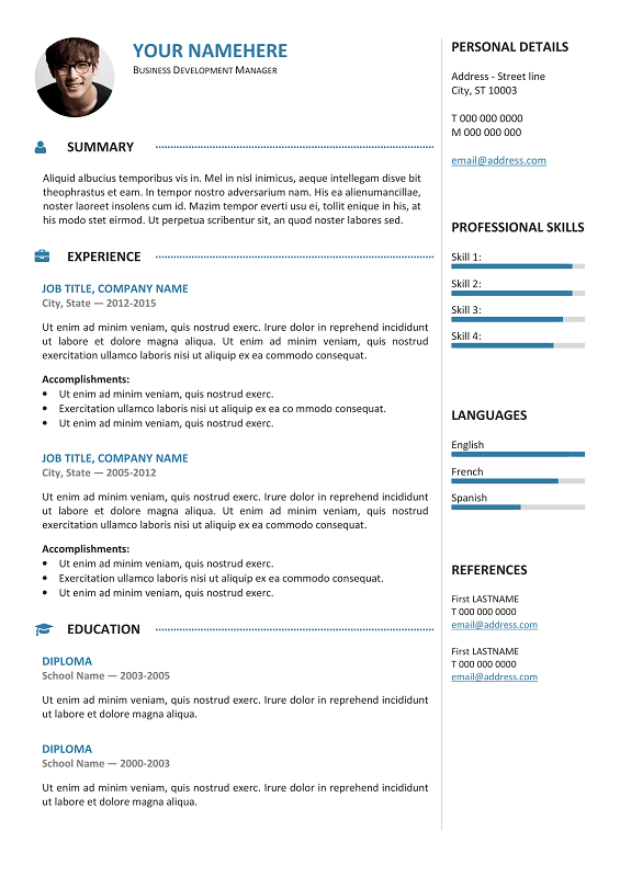 Elegant Gastown2 Free Professional Resume Template Blue