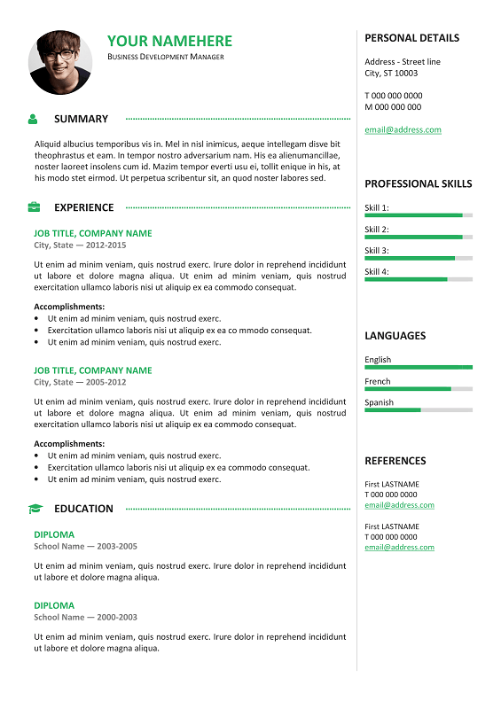 gastown2 free professional resume template green - Free Professional Resume Format