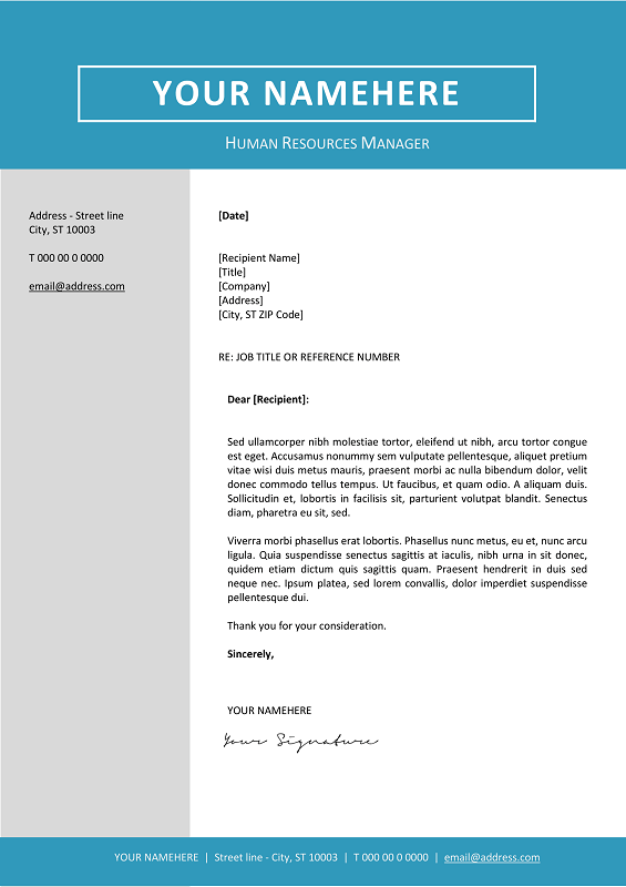 jordaan cover letter template blue layout - Cover Letter Templace