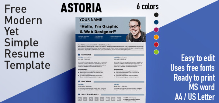 Astoria - Modern Yet Simple Free Resume Template