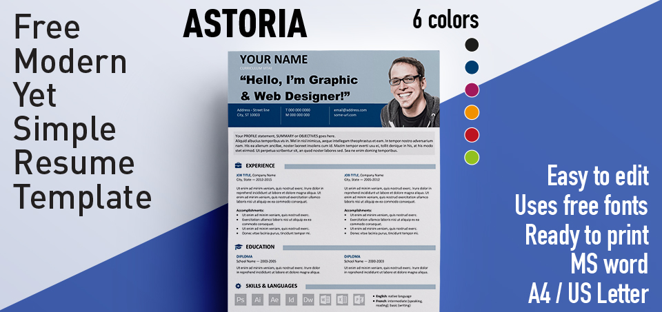 astoria modern yet simple free resume template - Free Resume Fonts