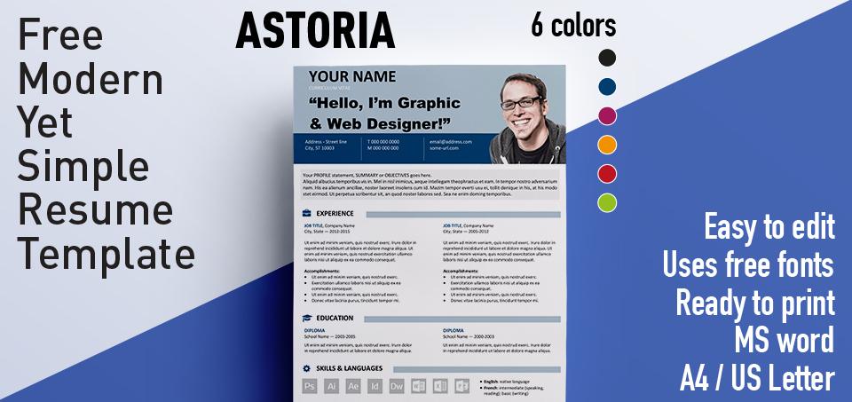 astoria modern yet simple free resume template