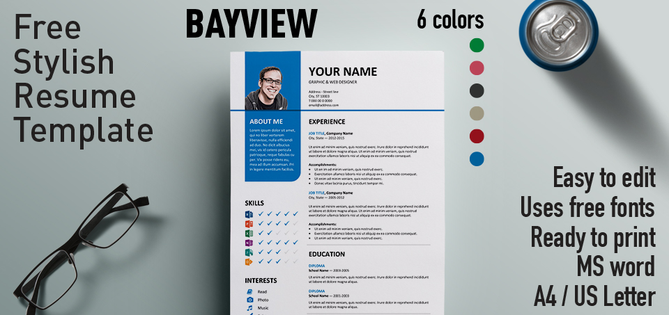bayview stylish resume template - Free Resume Fonts