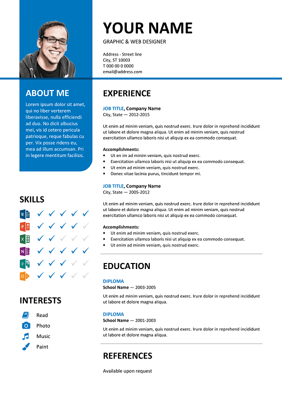 bayview free resume template microsoft word blue layout - Microsoft Resume Template