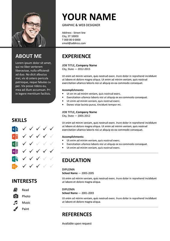 bayview free resume template microsoft word gray layout - Resume Template On Microsoft Word