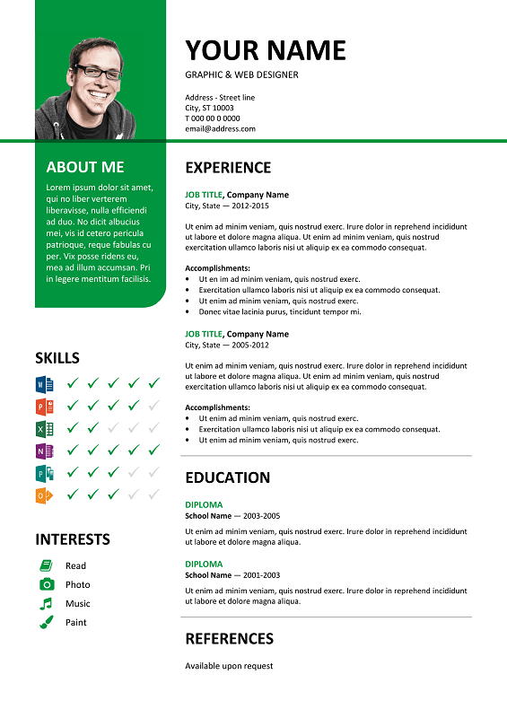bayview free resume template microsoft word green layout - Resume Template Color
