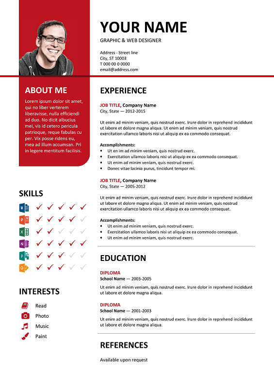 ... Bayview Free Resume Template Microsoft Word - Red Layout