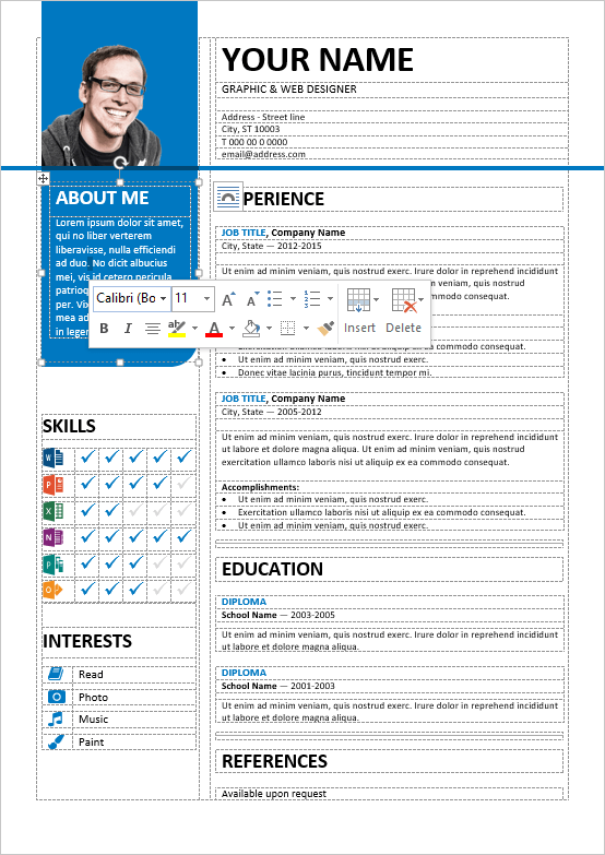 Well Organized, Table Formatted And Fully Editable Free Resume Template For  Word  Table Resume Examples