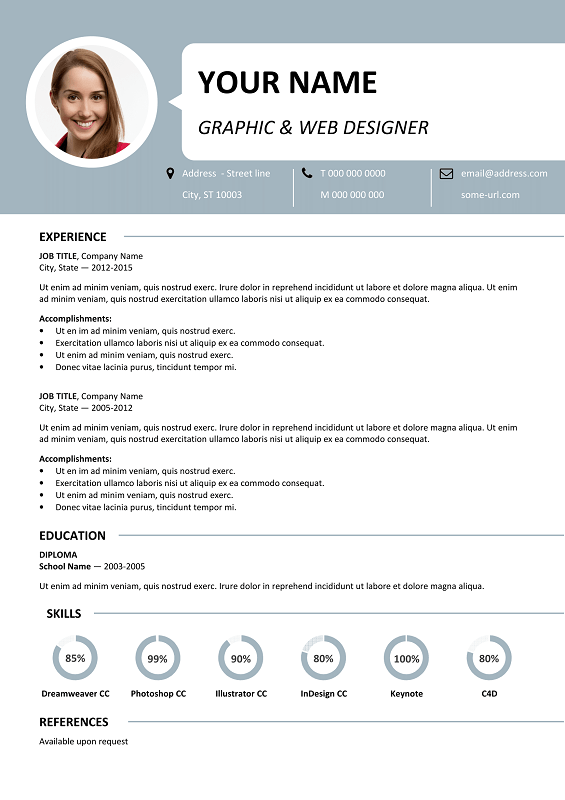 Genial Centrum Free Resume Template Microsoft Word   Blue Layout ...
