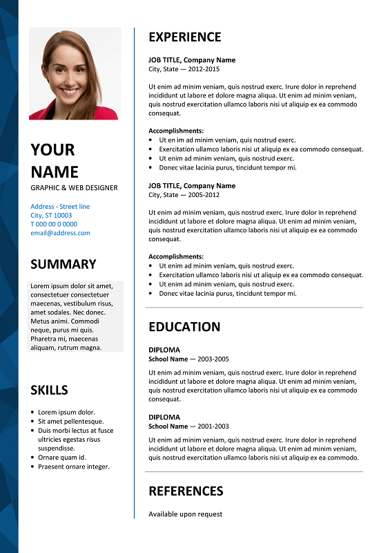 Great Dalston Free Resume Template Microsoft Word   Blue Layout