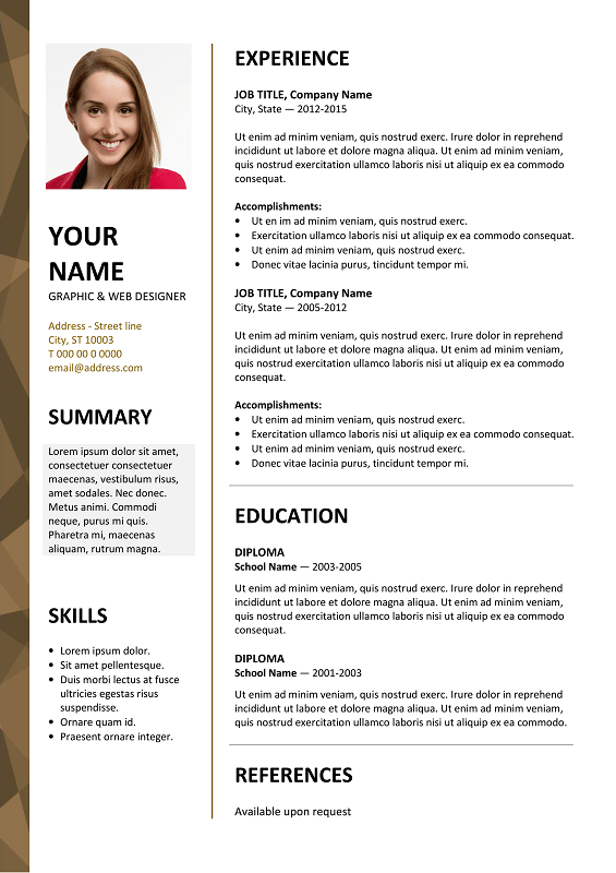 Dalston Free Resume Template Microsoft Word - Brown Layout