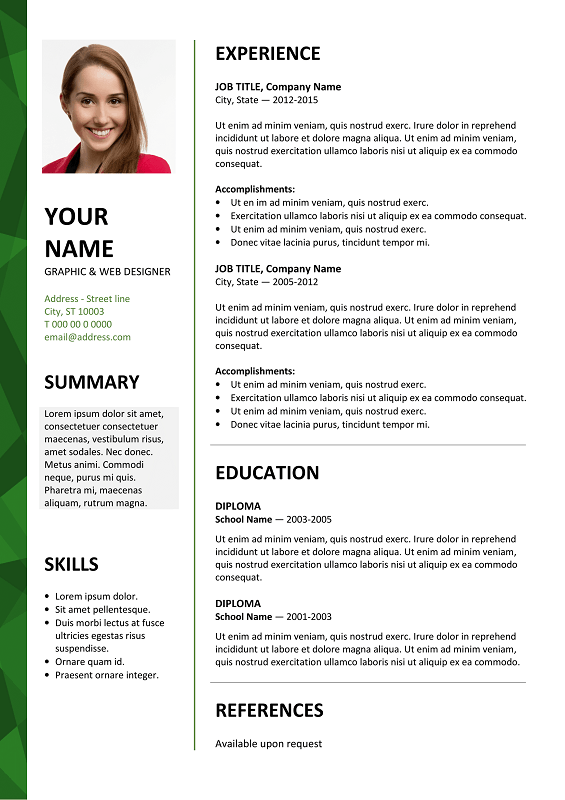 Dalston Free Resume Template Microsoft Word   Green Layout