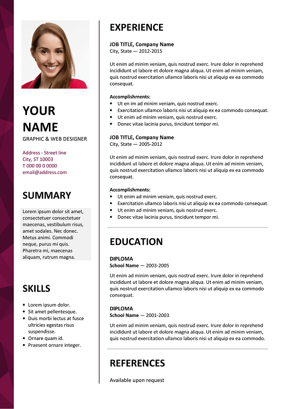 dalston free resume template microsoft word purple layout - Ms Word Resume Template