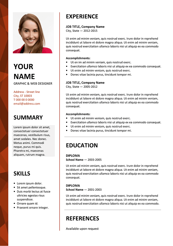 Dalston Free Resume Template Microsoft Word   Red Layout