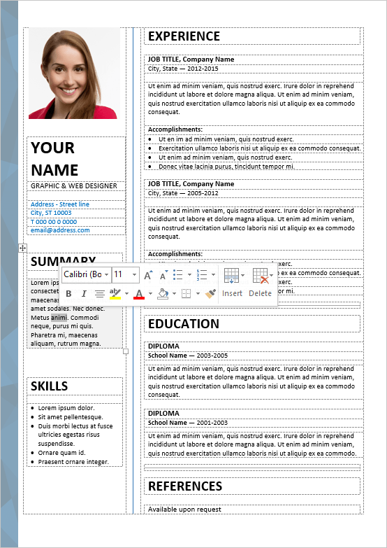 Superieur Well Organized, Table Formatted And Fully Editable Free Resume Template For  Word