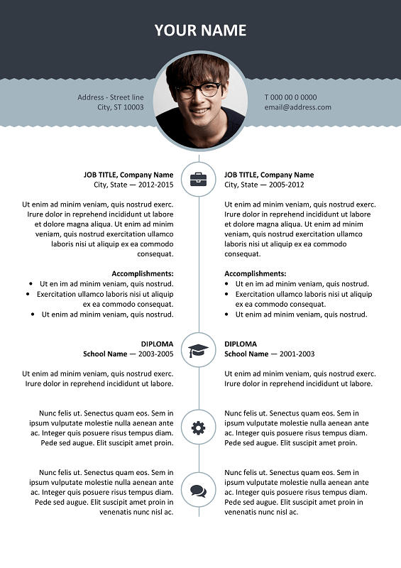 Esquilino Free Resume Template Microsoft Word   Blue Layout ...