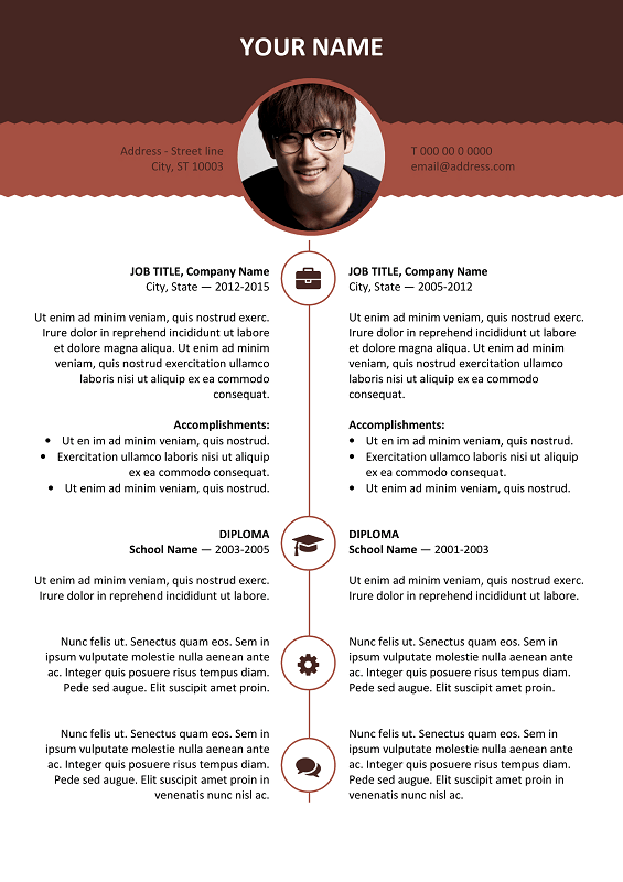 esquilino free resume template microsoft word brown layout - Microsoft Resume Templates