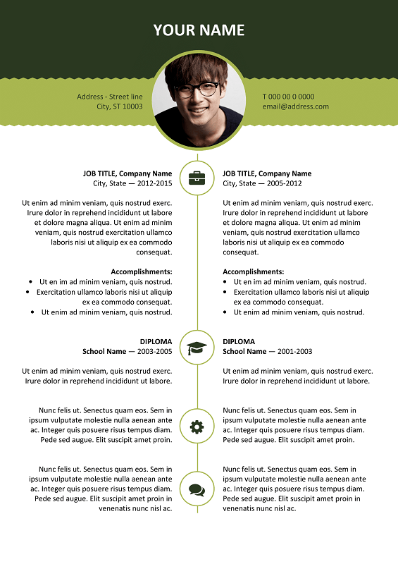 ... Esquilino Free Resume Template Microsoft Word   Green Layout ...