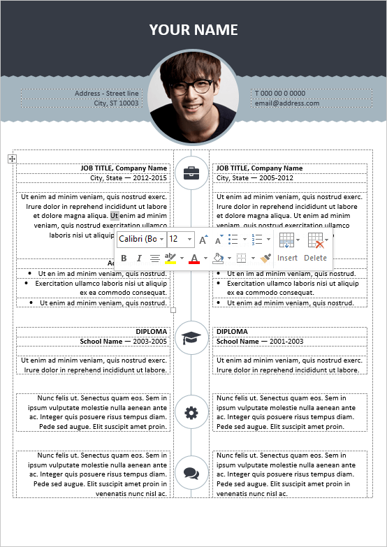 well organized table formatted and fully editable free resume template for word