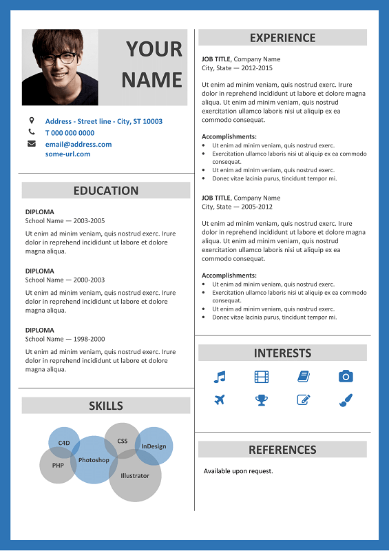 Fitzroy modern border resume template fitzroy free resume template microsoft word blue layout yelopaper
