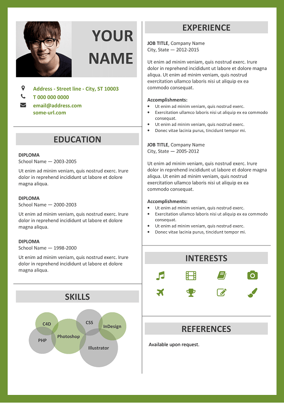 Fitzroy-Resume-Green Sample Curriculum Vitae For Graduate on