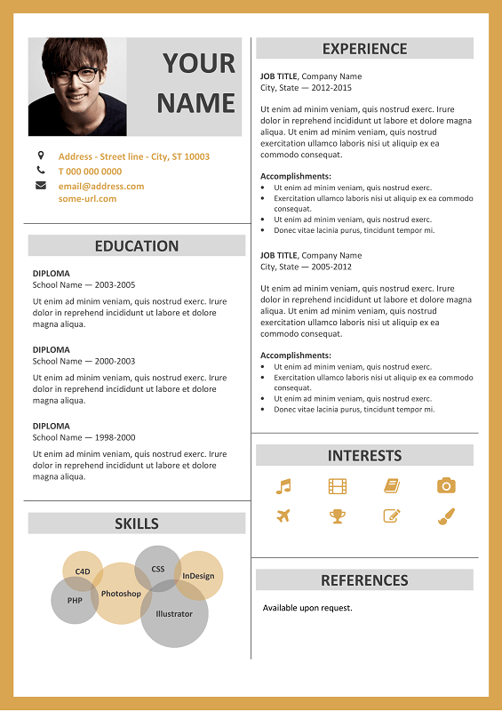 Fitzroy modern border resume template fitzroy free resume template microsoft word yellow layout maxwellsz