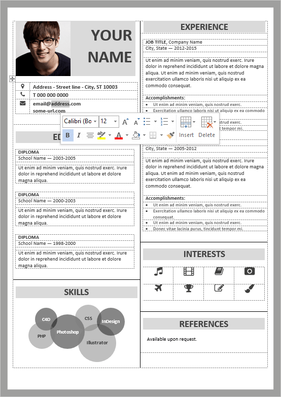 Well Organized, Table Formatted And Fully Editable Free Resume Template For  Word