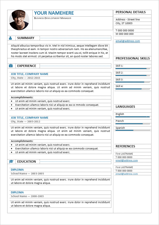Gastown2 Editable Professional Resume Template  Sample Professional Resume Templates