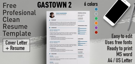 gastown2 professional resume template - Free Professional Cv Template