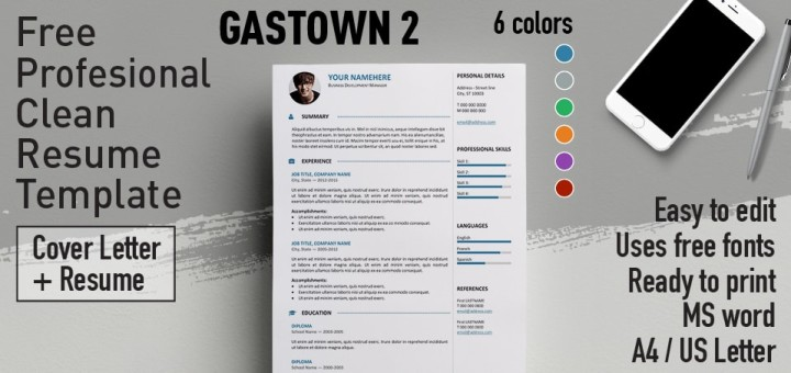 Gastown Free Professional Resume Template