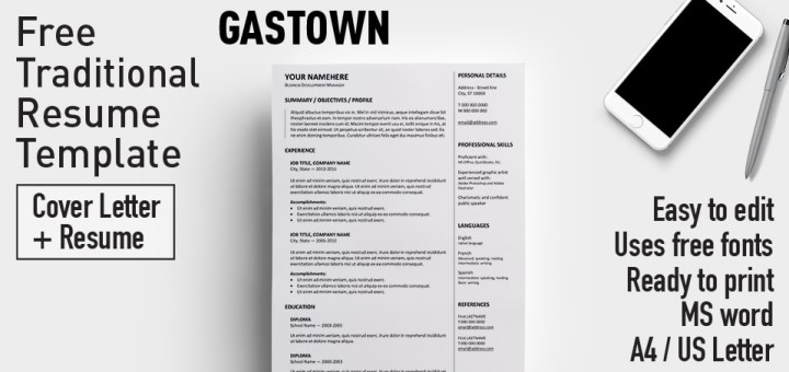 gastown2 free traditional resume template for ms word - Traditional Resume Template