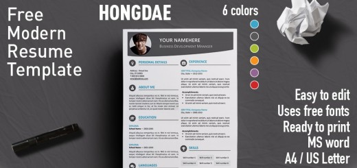 Hongdae Modern Resume Template  Free Word Resume Templates