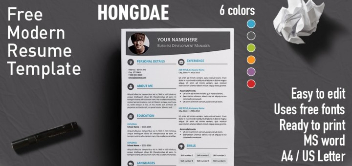 Hongdae Free Modern Resume Template For MS Word  Modern Resume Template Word