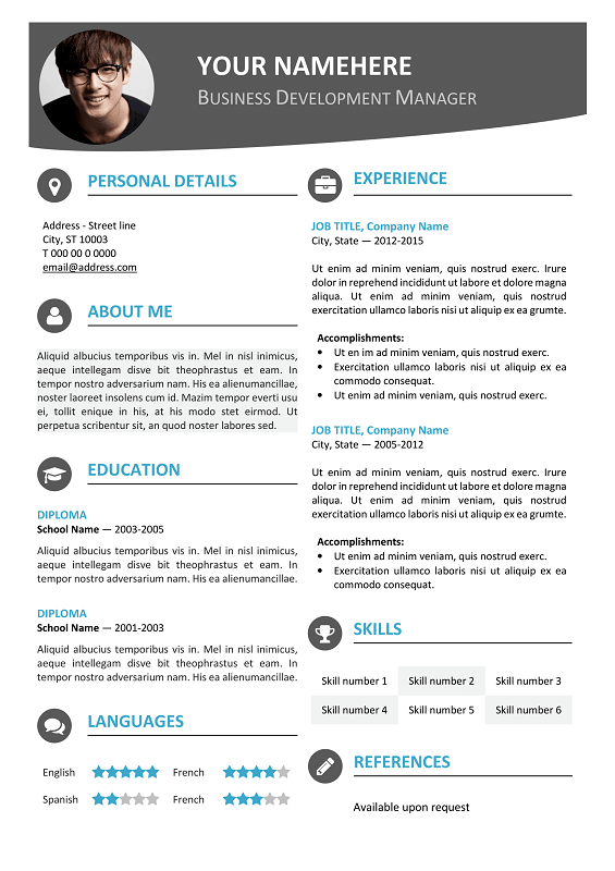 hongdae free modern resume template blue - Photo Resume Template
