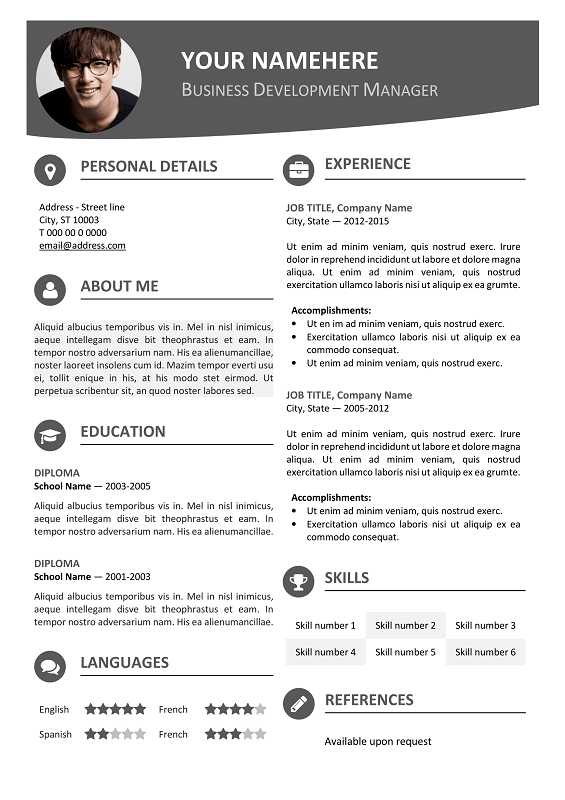 hongdae free modern resume template blue hongdae free modern resume template gray - Resume Template In Word 2007
