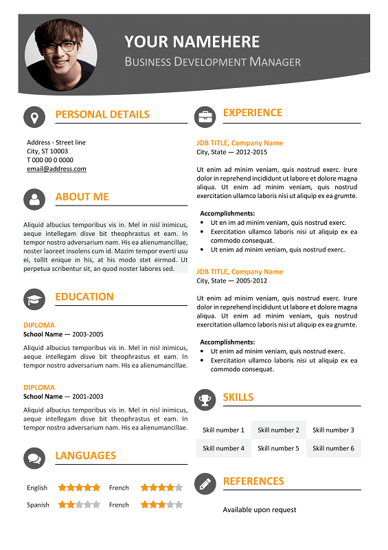 hongdae free modern resume template orange - Contemporary Resume Templates Free