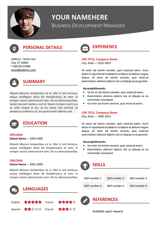 hongdae free modern resume template red