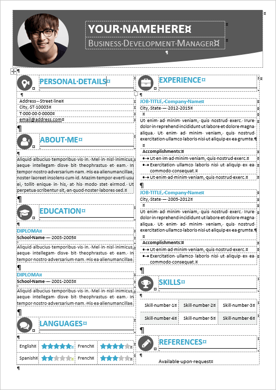 Hongdae Editable Modern Resume Template For MS Word  Modern Resume Template Word