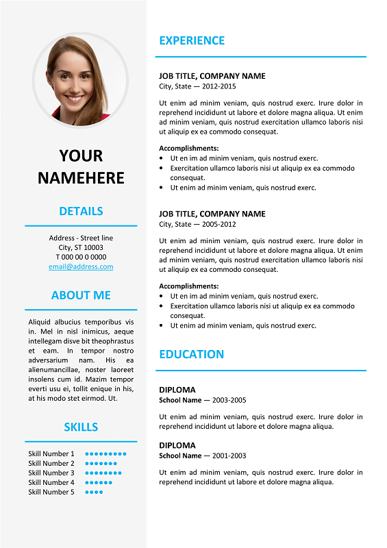 picture resume templates