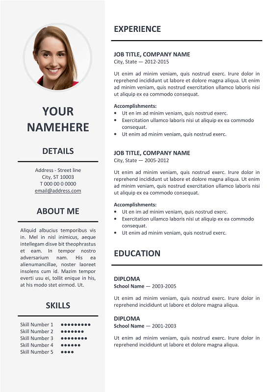 ... Ikebukuro Free Elegant Resume Template Gray for MS Word ...