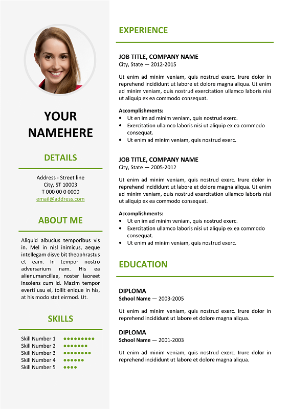 Elegant Resume Template ... Ikebukuro Free Elegant Resume Template Green for MS Word ...