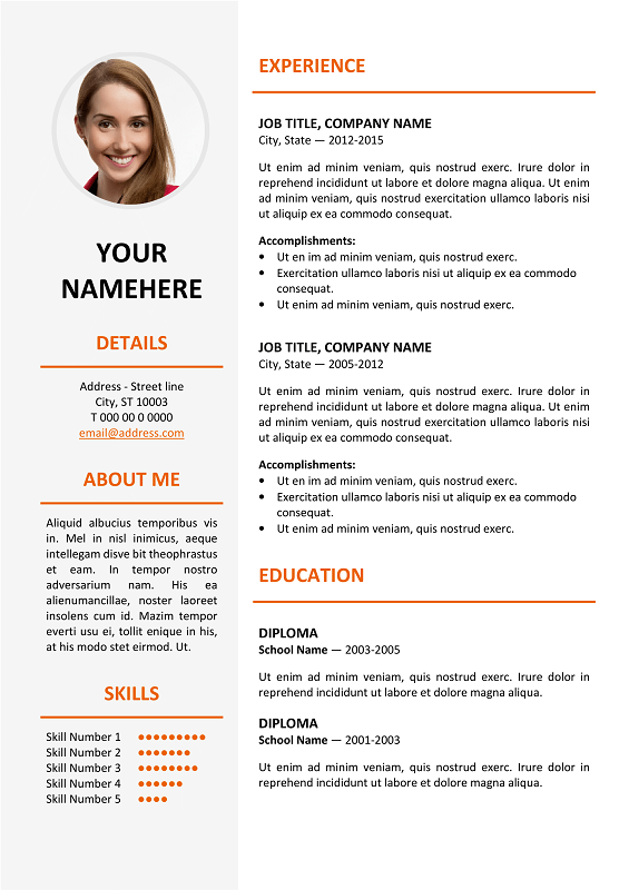 font size of a stylish resume template