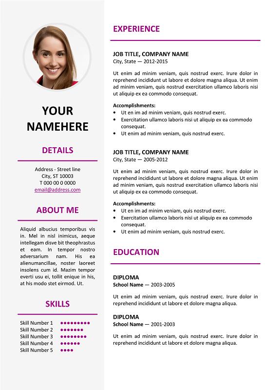ikebukuro free elegant resume template purple for ms word