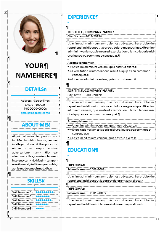 Cv table form militaryalicious ikebukuro elegant resume template thecheapjerseys