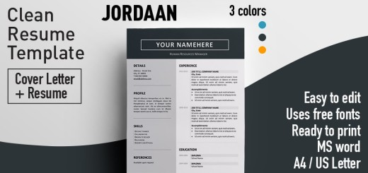 Jordaan-Clean-Resume-Template-Word-520x245 Template Cover Letter Design Free Black Professional Resume Fondul on