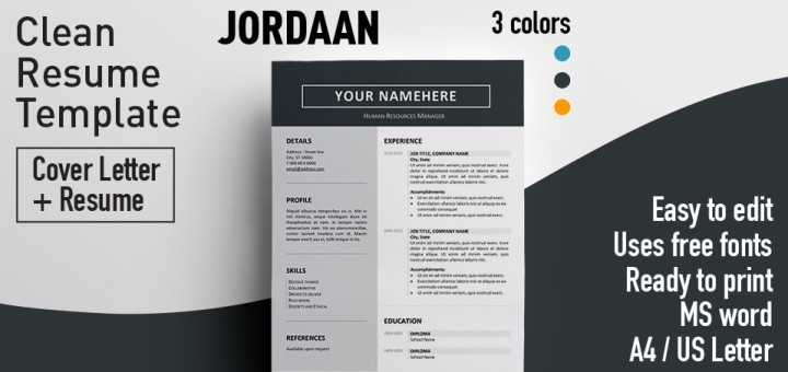 Jordaan clean resume template jordaan clean resume template yelopaper Images