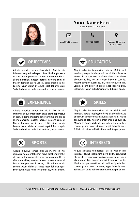 Good Resume Template For Kids   Black And White Version