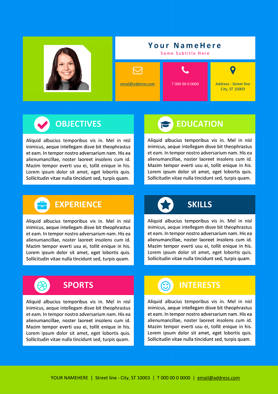 Superieur Colorful Resume Template For Kids ...