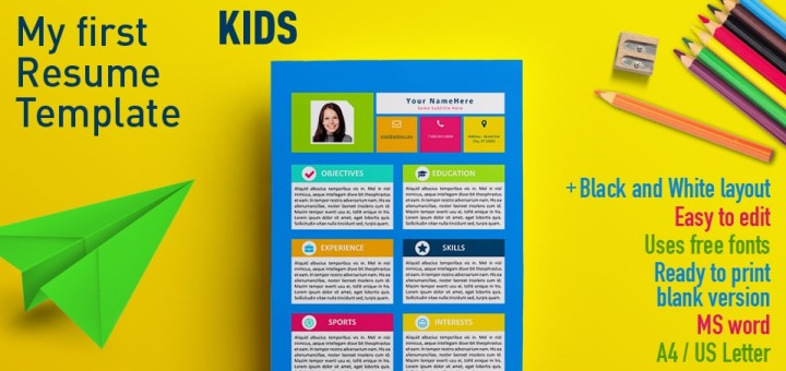 My first resume template for kids altavistaventures
