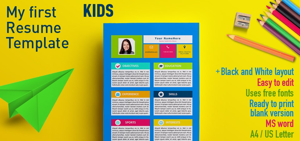 First Resume Template For Kids